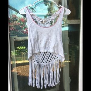 Roxy white boho macrame tank top